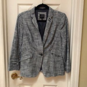 Navy and white tweed blazer